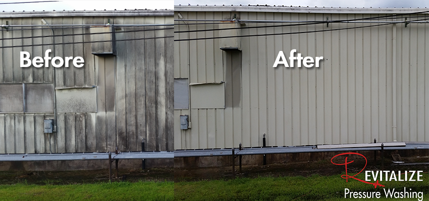 Aluminum Building Washing - Mold and Algae Removal in Houston
